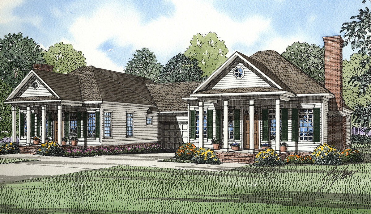 Southern traditional duplex home plan 59320nd for Traditional southern house plans