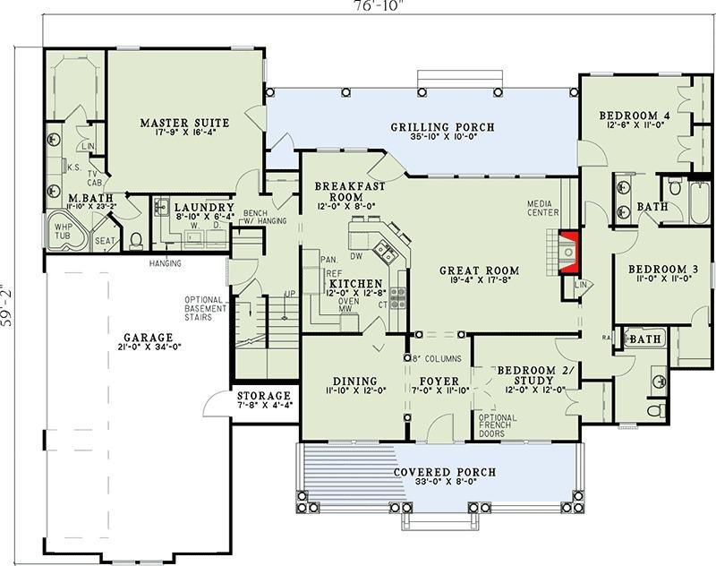 Spectacular Split Bedroom House Plan 59377nd 1st Floor Master Suite Bonus Room Cad