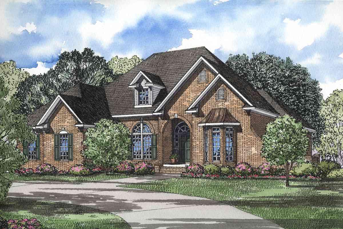 Brick Split Bedroom House Plan 59427nd Architectural