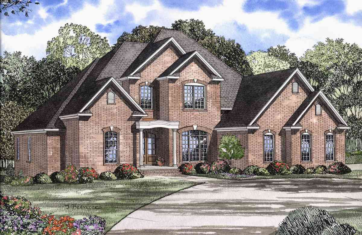 Elegant two story house plan 59433nd 1st floor master 2 story traditional house plans