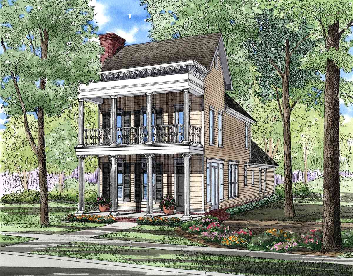 Charleston charm 59438nd 1st floor master suite cad for Charleston style home floor plans