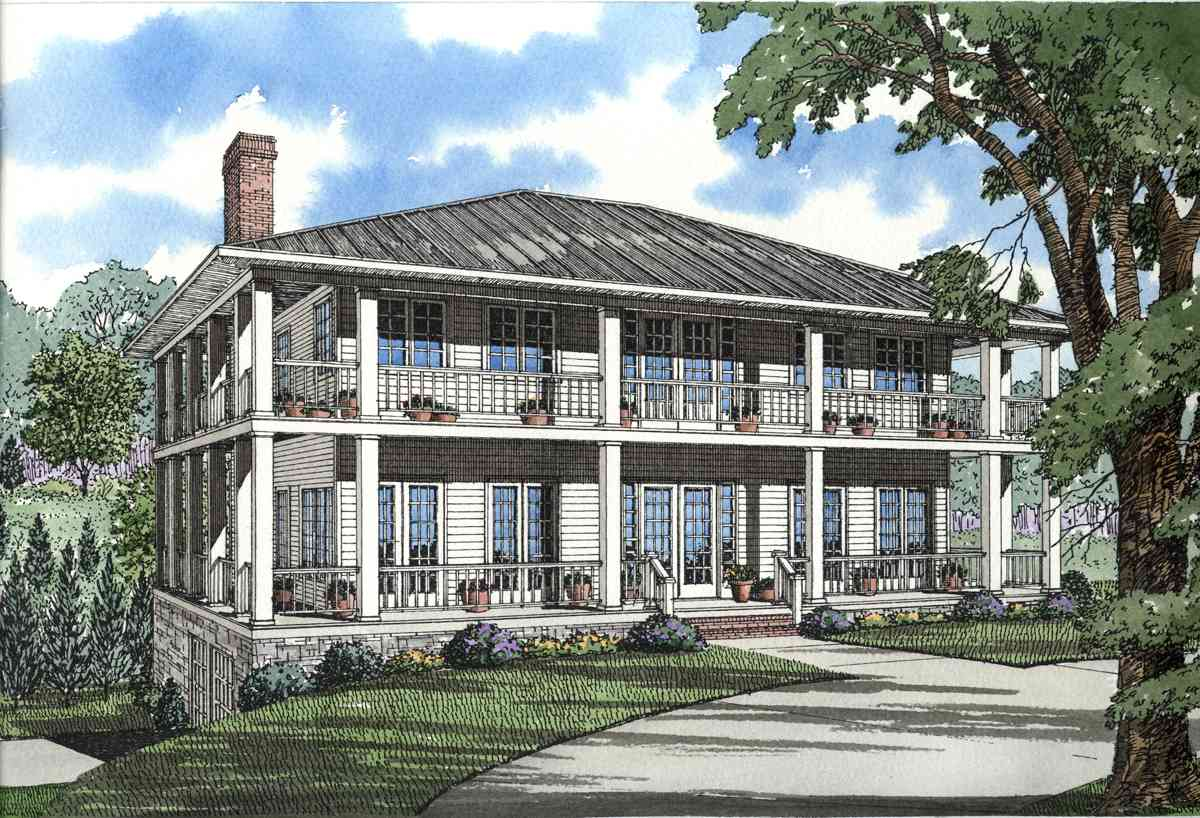 Stately southern design with wrap around porch 59463nd for Homes with porches all the way around