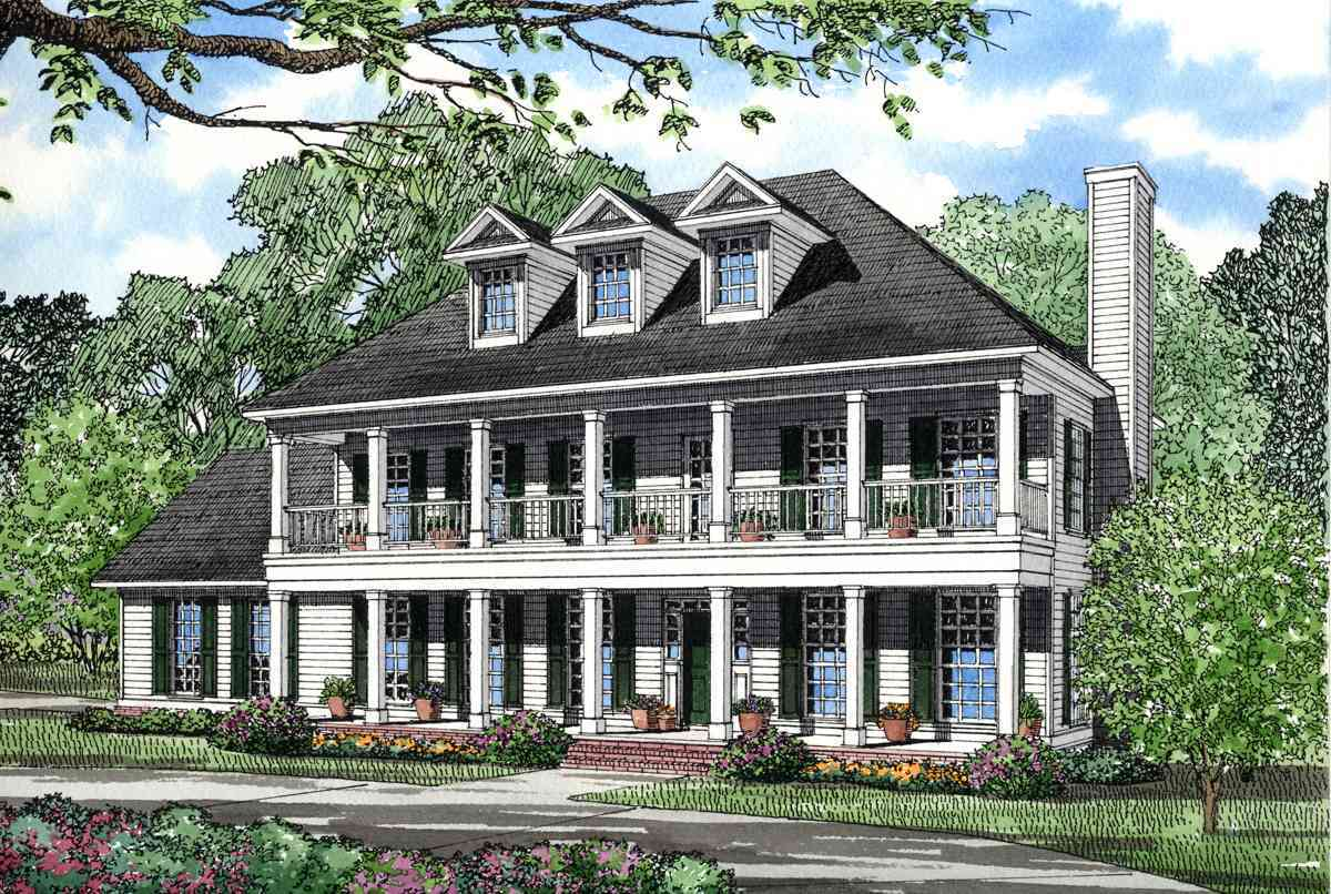Stacked porches 5961nd architectural designs house plans for House plans with large front and back porches
