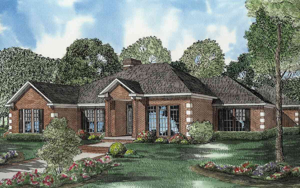 One level traditional brick house plan 59640nd for Traditional brick house plans