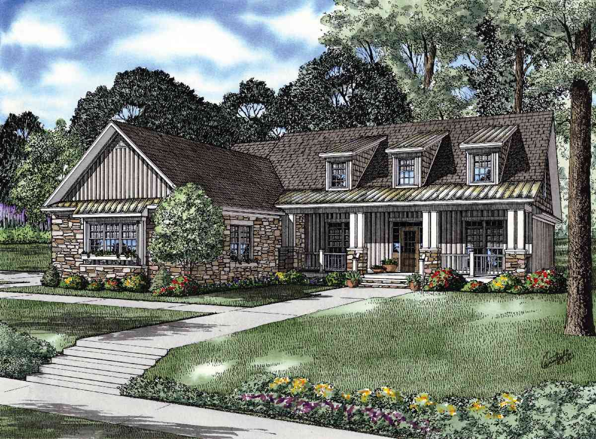 Charming craftsman house plan 59656nd 1st floor master for Country craftsman house plans