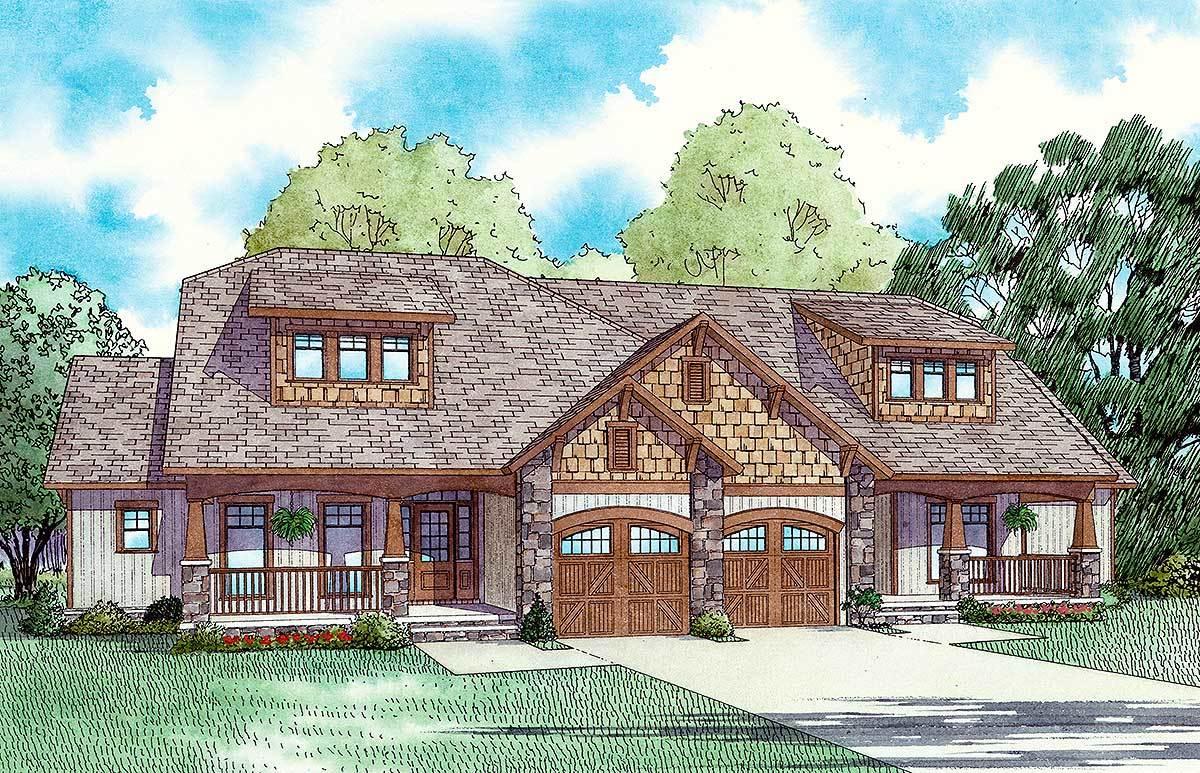 Craftsman style duplex house plan 59741nd for Duplex cottage plans
