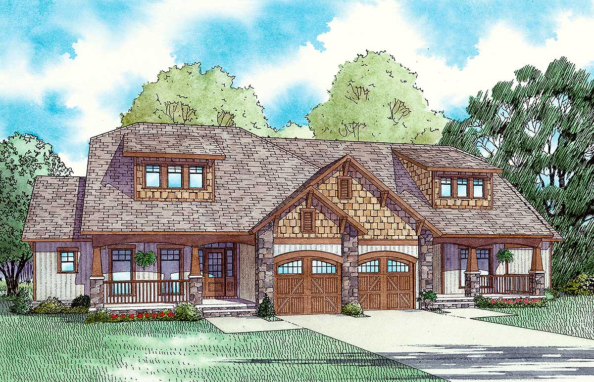 Craftsman Style Duplex House Plan 59741nd