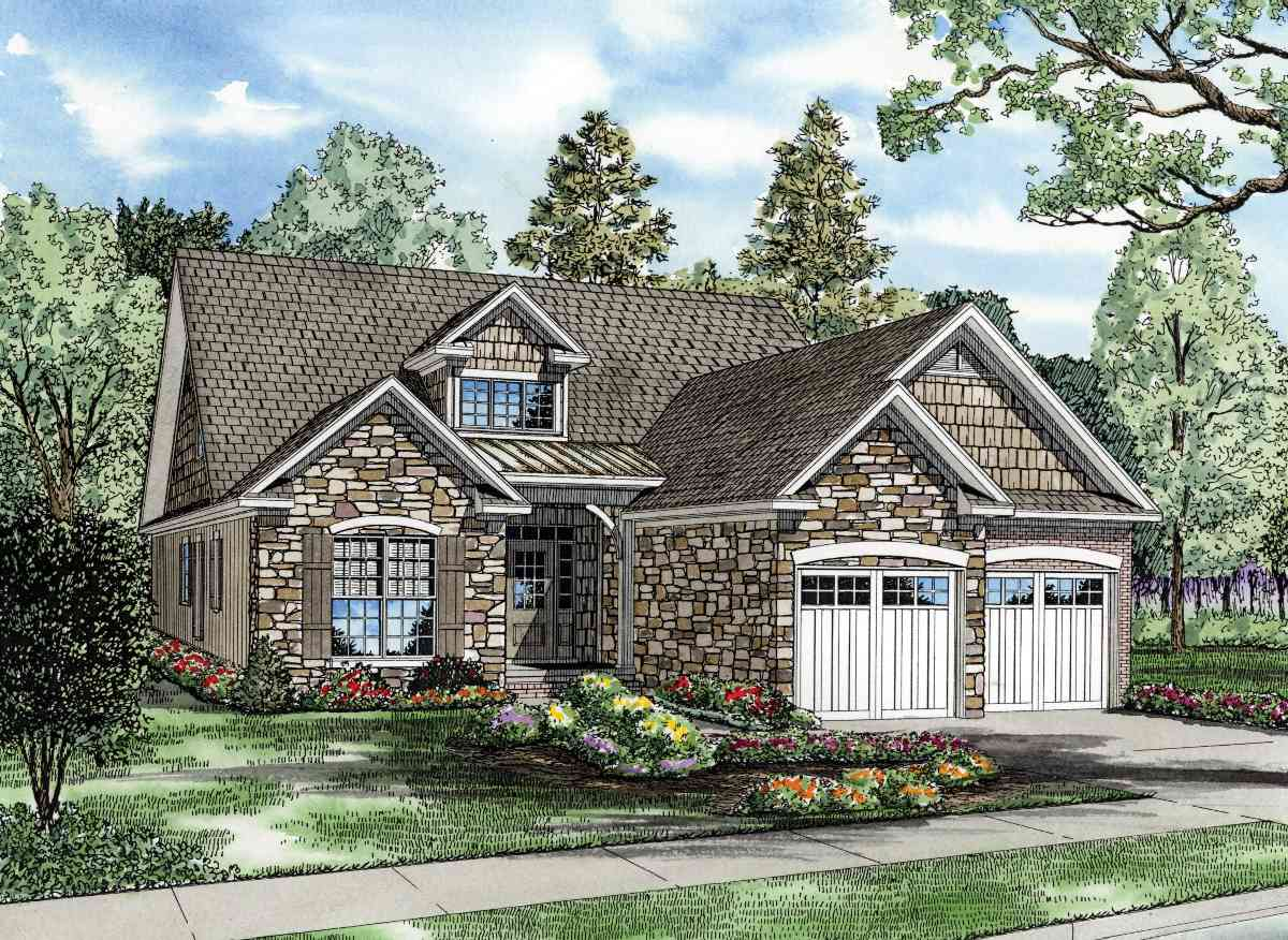 Stone and cedar with bonus level 59776nd 1st floor for Cedar shake home plans