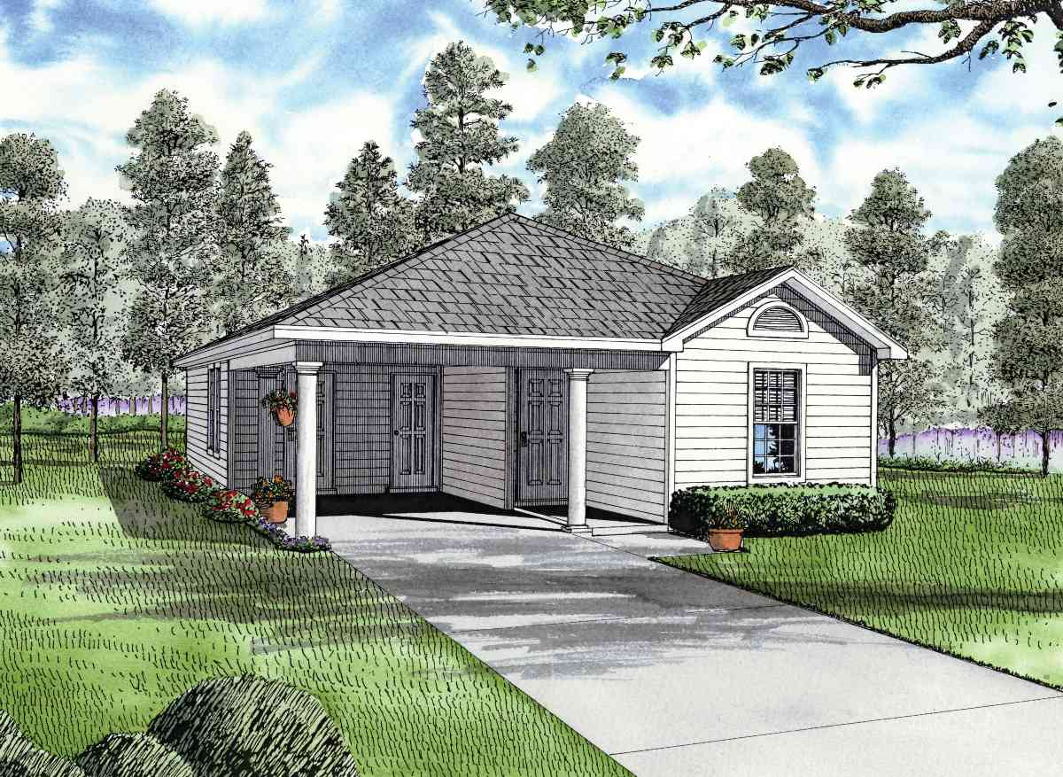 Carport starter home plan 59779nd architectural for House plans with carport in back