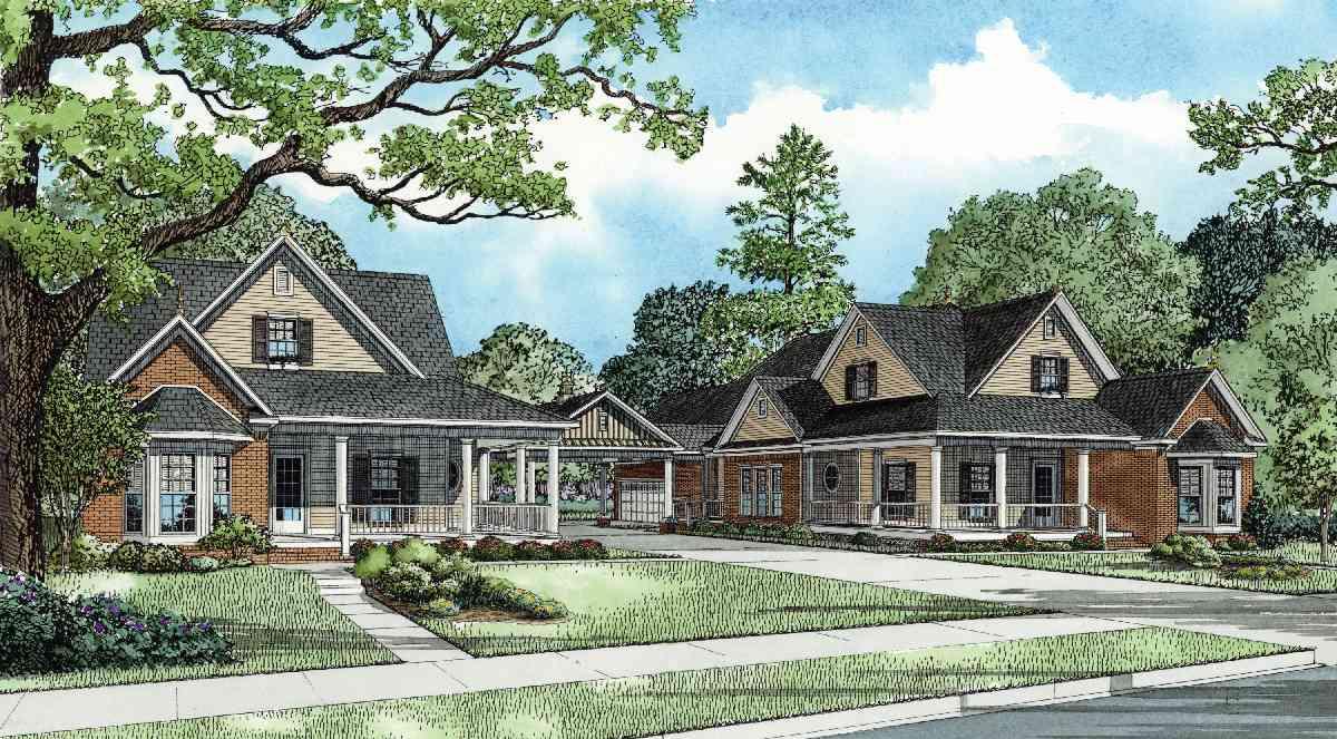 Shared porte cochere 59786nd architectural designs for Porte cochere home plans