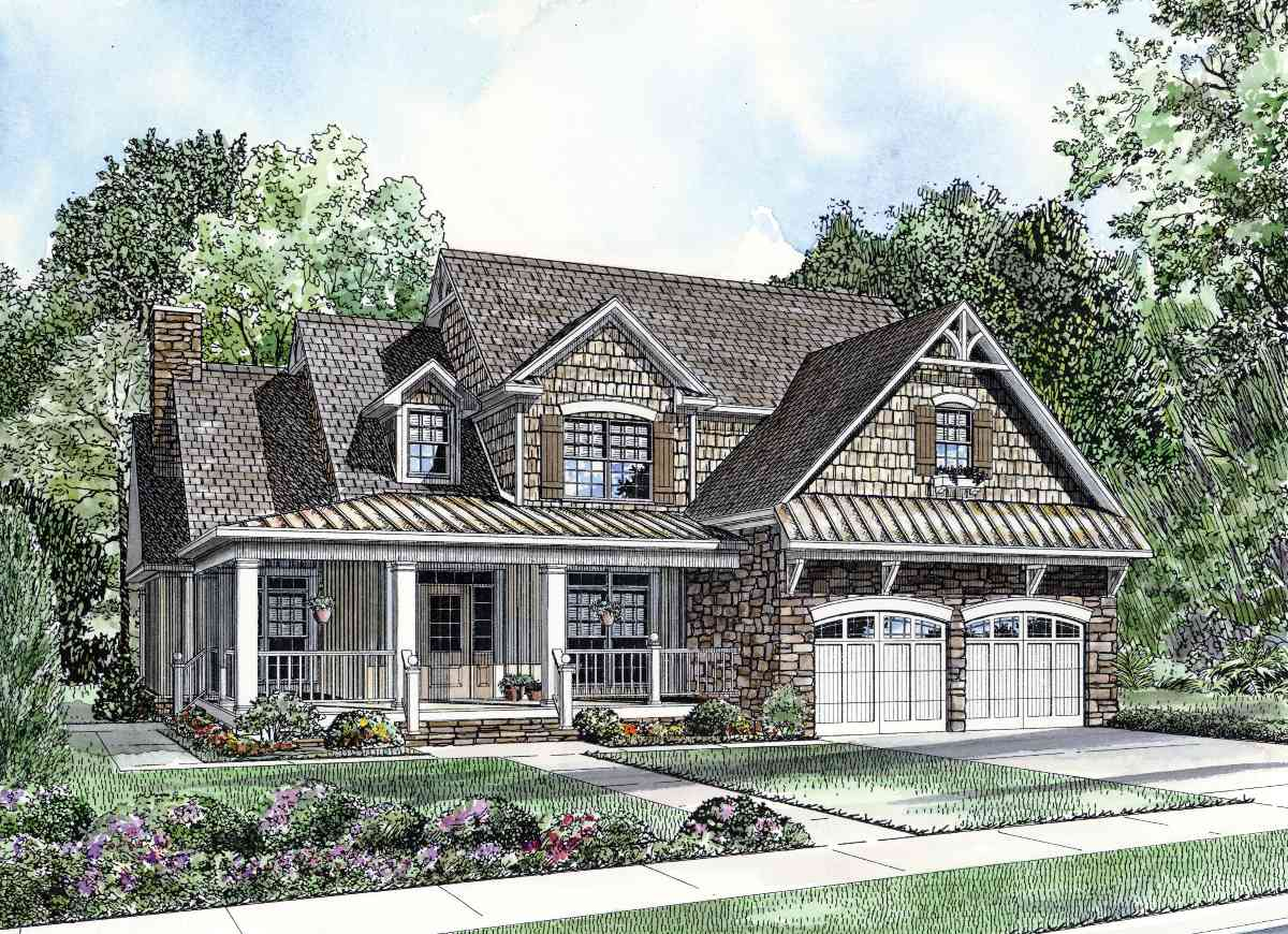 Charming home plan 59789nd 1st floor master suite for Country style homes floor plans