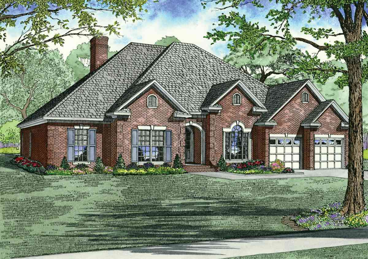 Stately brick exterior 59811nd 1st floor master suite for Luxury brick house plans