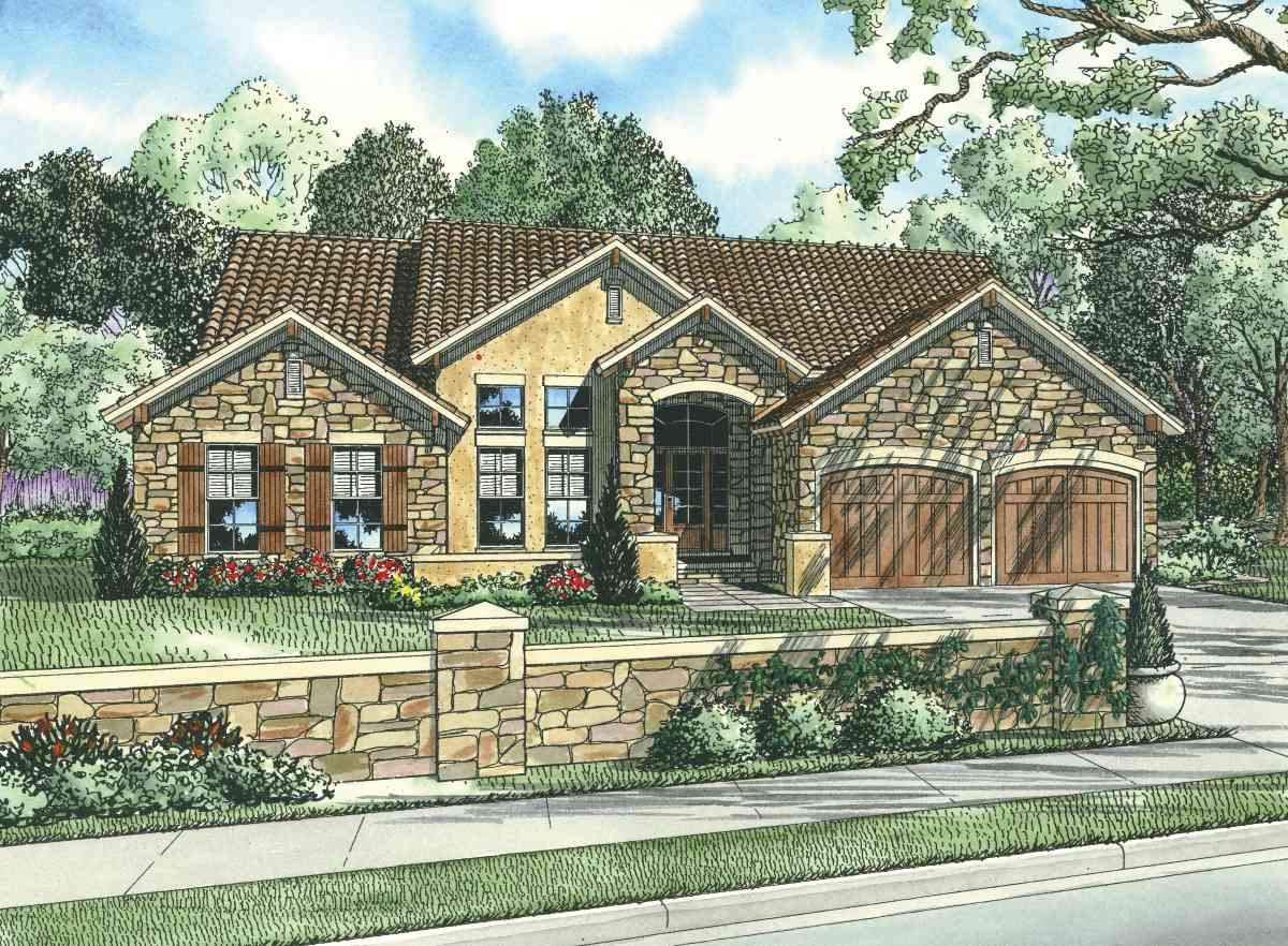Tuscan house plan with two story ceiling 59847nd 1st for Tuscan house plans