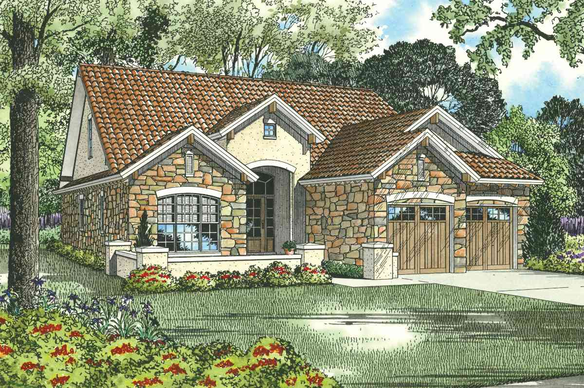 Tuscan house plan with optional home theater 59850nd for Tuscan house plan