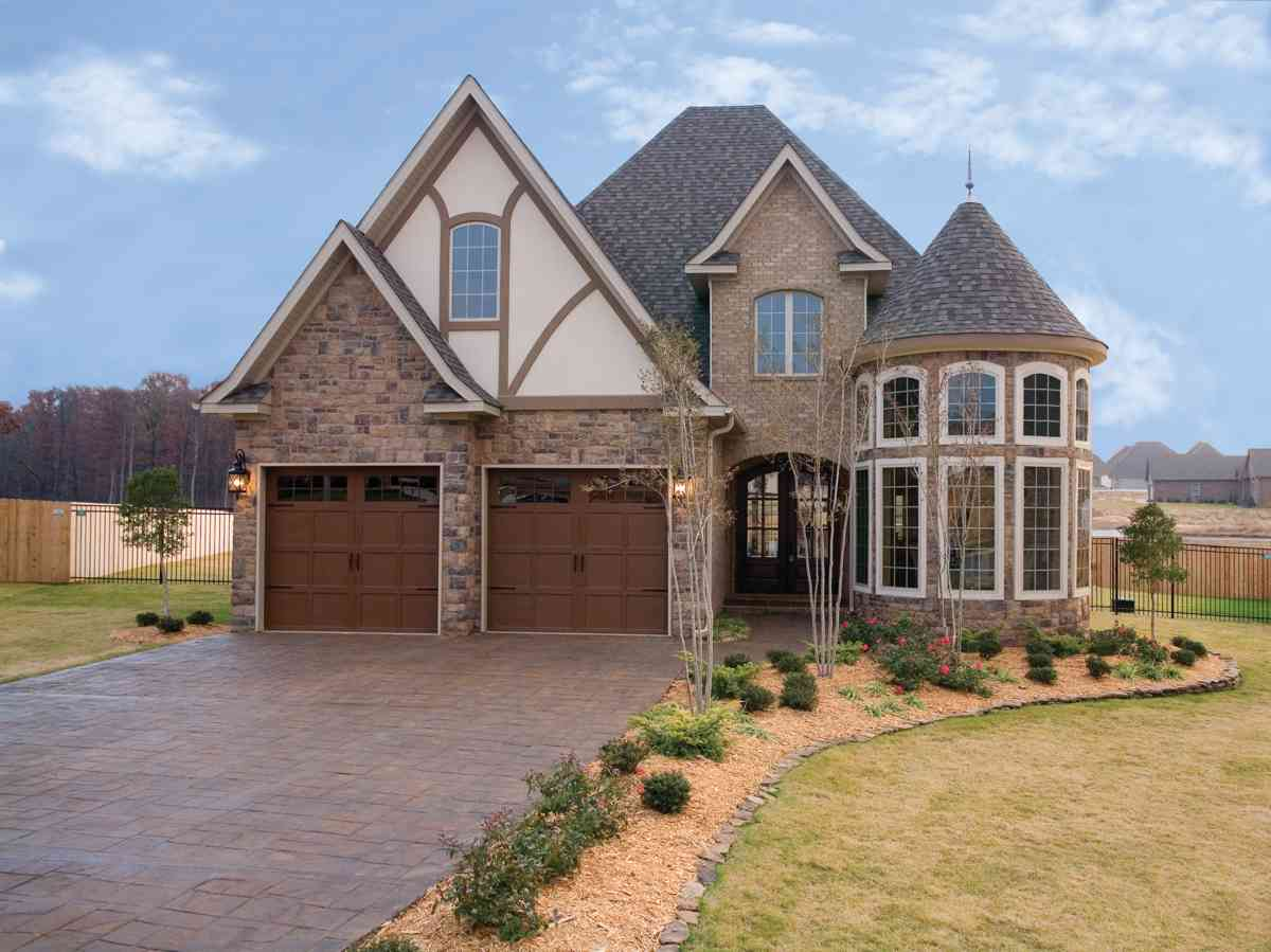 Stone exterior house plans - Attractive Stone And Glass Rotunda 59913nd Architectural Designs House Plans