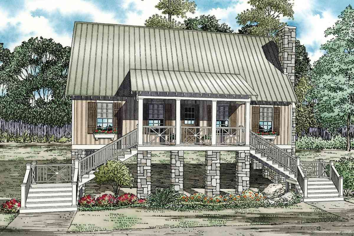 Elevated cabin cottage 59953nd architectural designs for Elevated home plans