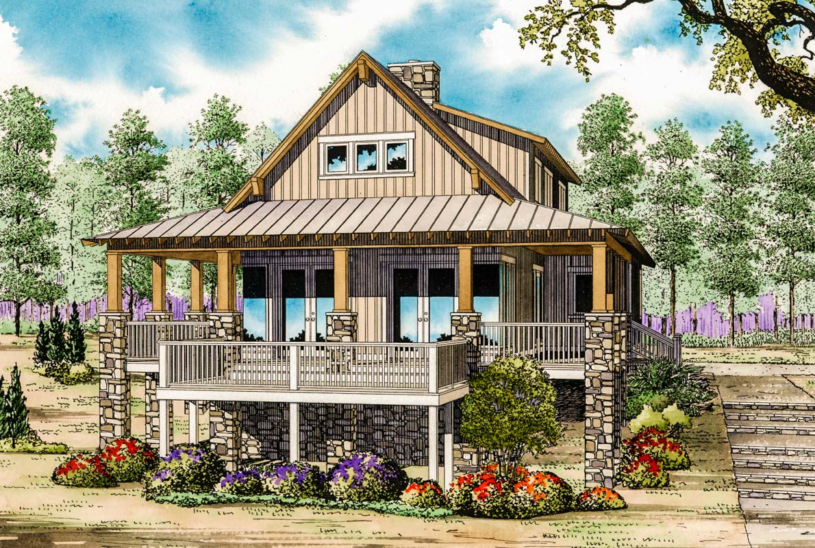 Low country cottage house plan 59964nd architectural for Country bungalow house plans