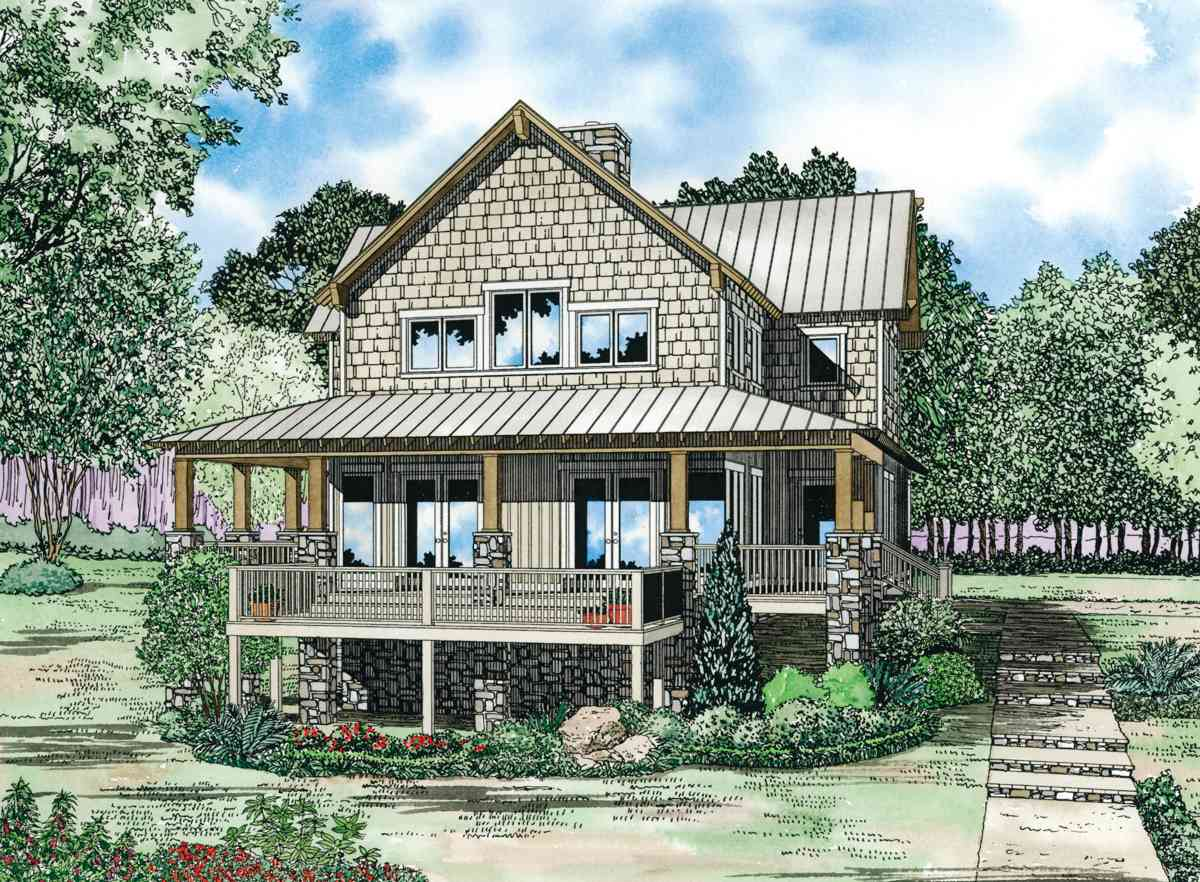 Craftsman house plan with wrap around porch 59966nd for Craftsman wrap around porch