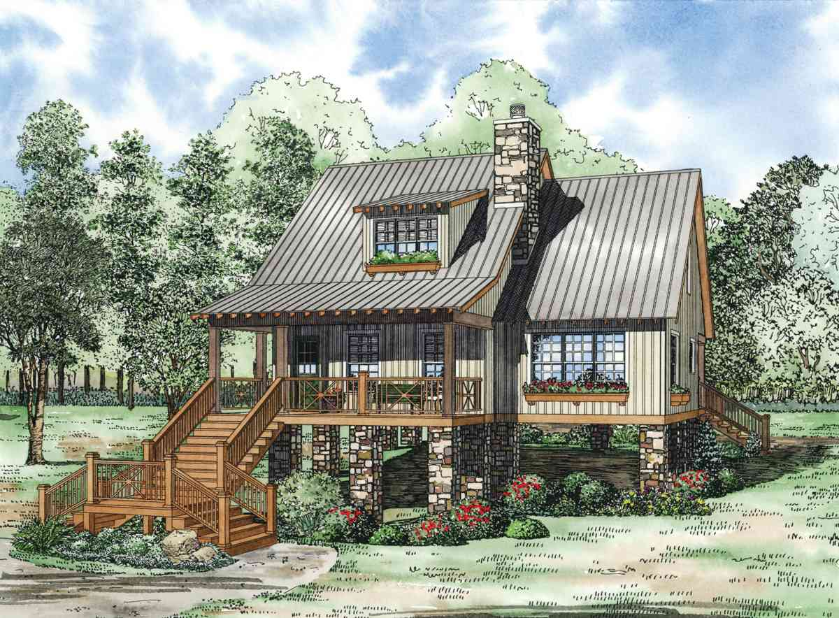 Elevated cottage house plan 59968nd 1st floor master for Vacation home plans