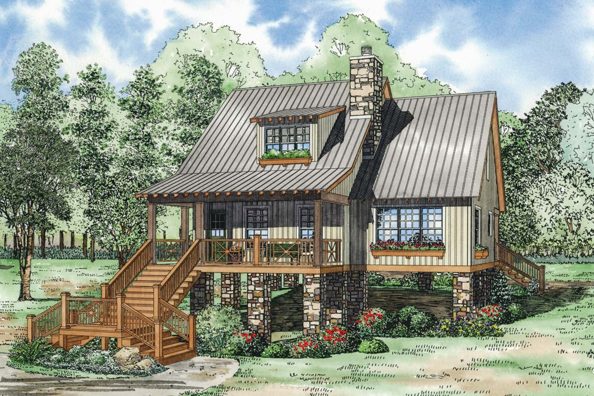 Elevated Cottage House Plan 59968nd Architectural