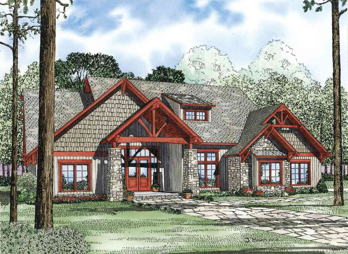 Rich yet rustic 59977nd 1st floor master suite bonus for Rustic home plans with cost to build