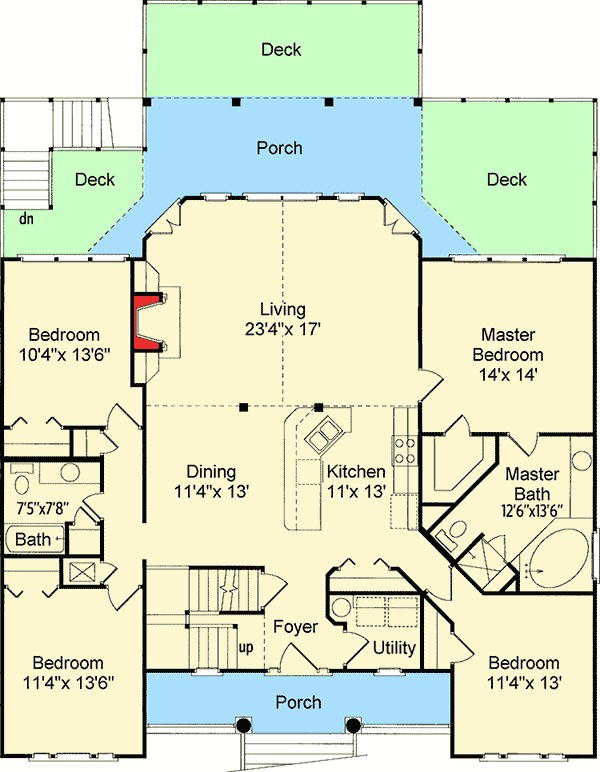 Low Country Or Beach Home Plan 60053rc 1st Floor