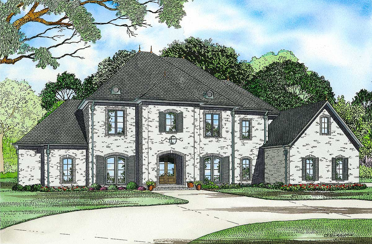 Gracious french country manor 60501nd architectural for French manor house plans
