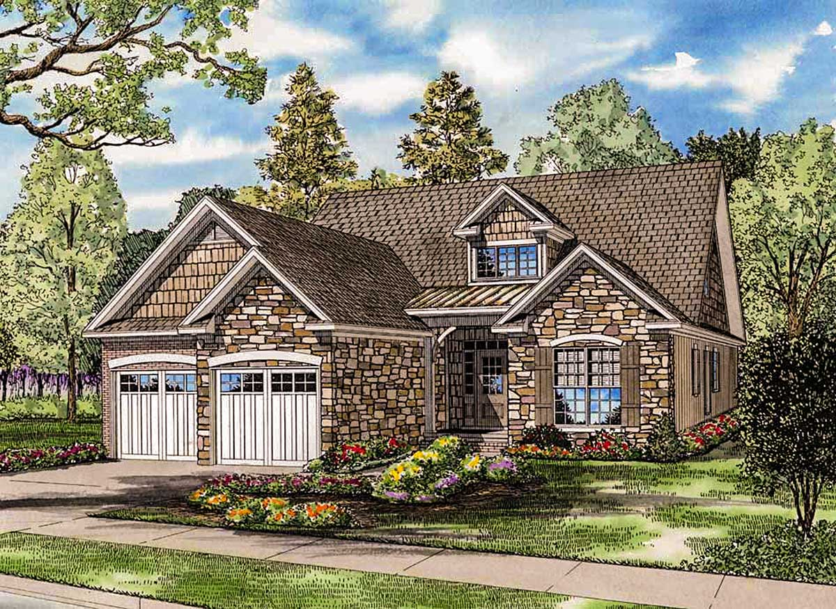 Charming stone cottage with bonus level 60536nd for Charming cottage house plans