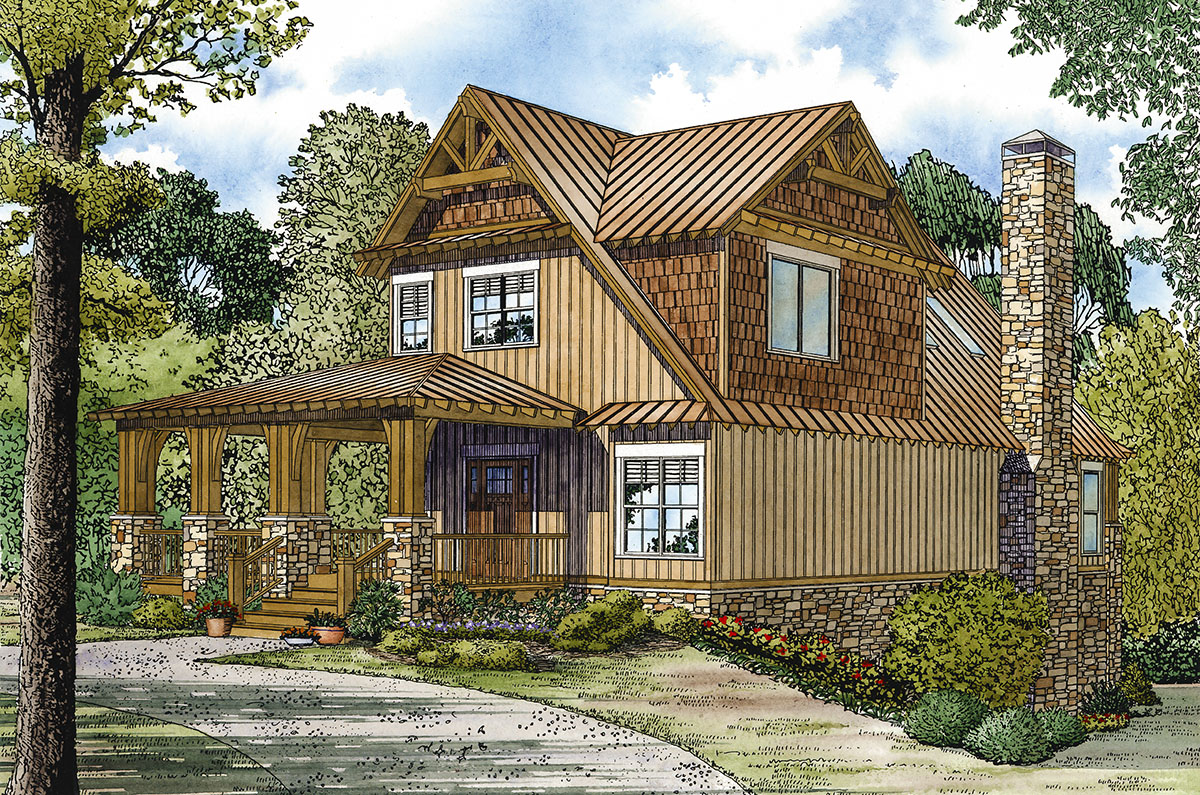 Rustic retreat for a sloping lot 60554nd architectural for Rustic retreat