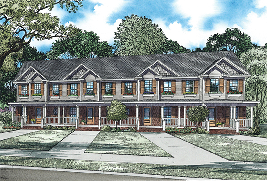 4 unit multi family home plan 60559nd architectural for Three family house plans