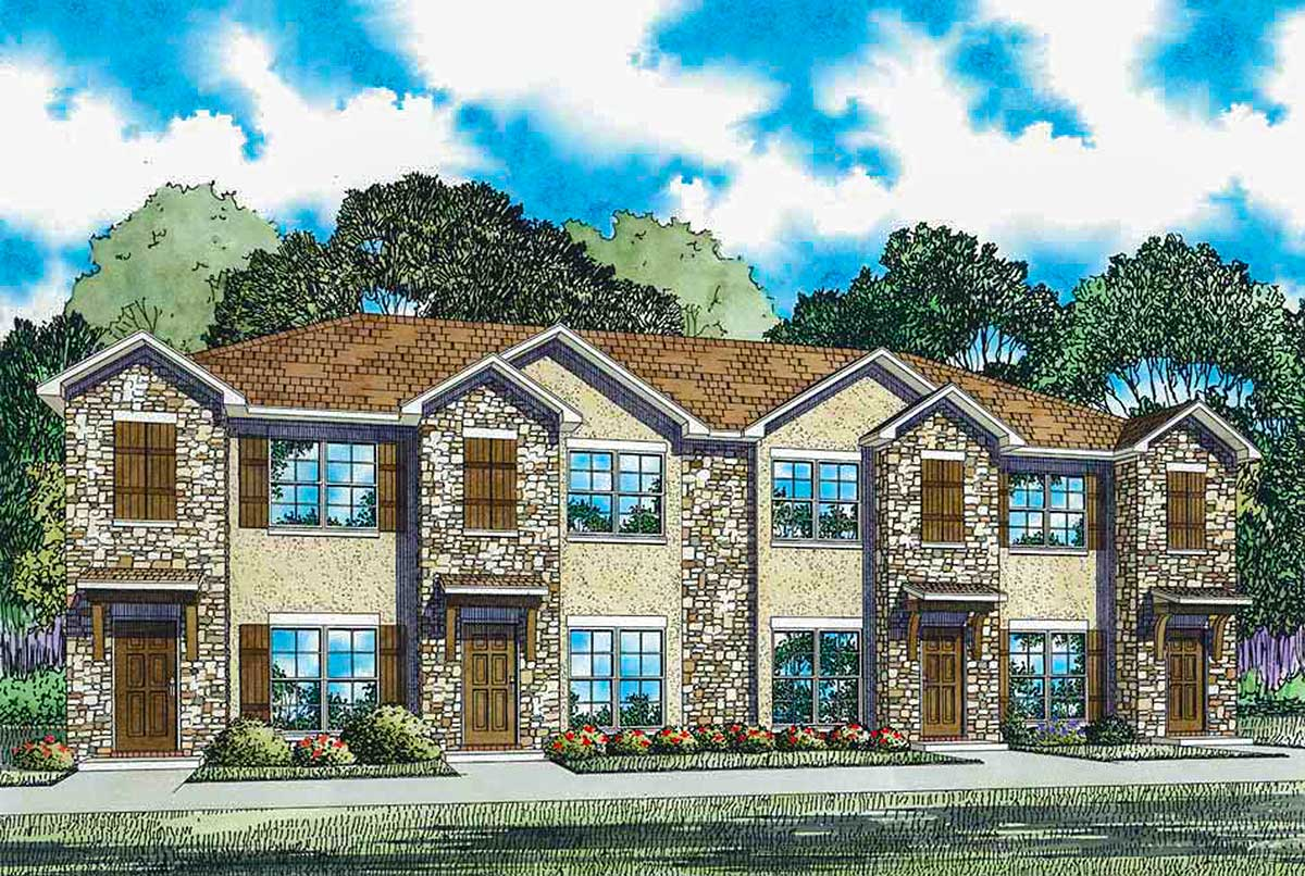 Attractive 4 plex house plan 60560nd architectural for 4 plex house plans
