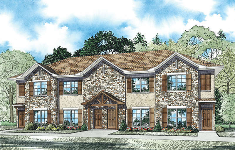 Stone And Stucco 4 Plex House Plan 60561nd