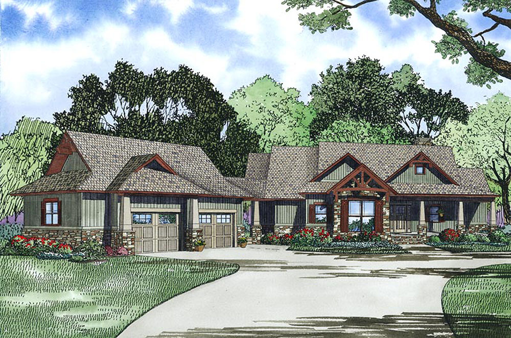 Rustic elegance with two master suites 60587nd 1st for House plans with 3 master suites