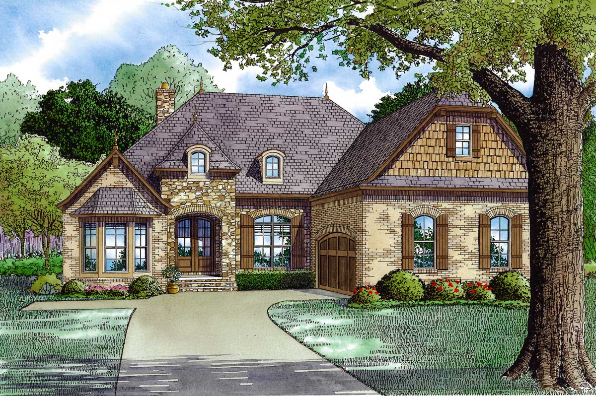 Handsome european home plan 60594nd architectural for European house plans with photos