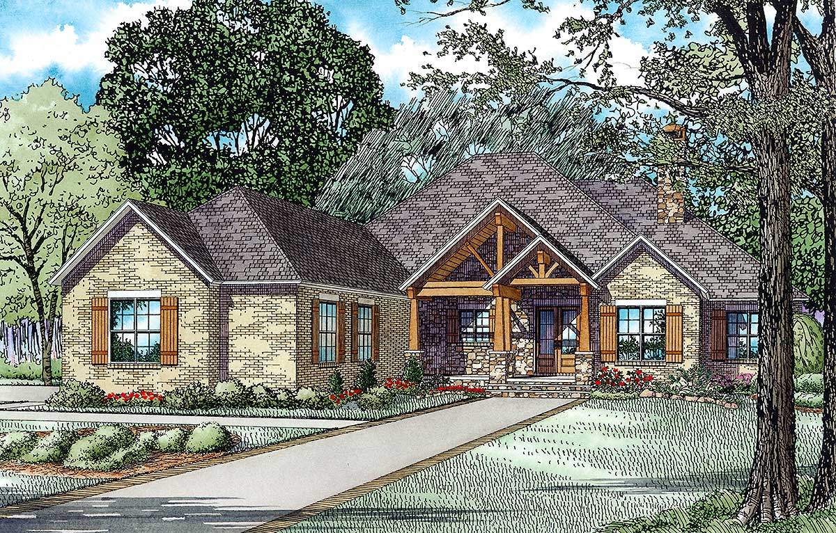 Rustic brick ranch home with sunroom 60603nd for Ranch house plans with sunroom