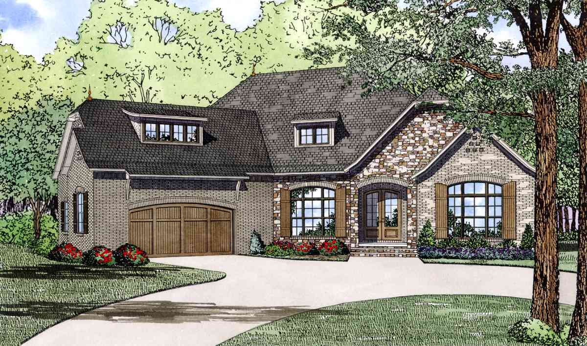 Split bedroom home plan with angled garage 60617nd for European style house plans