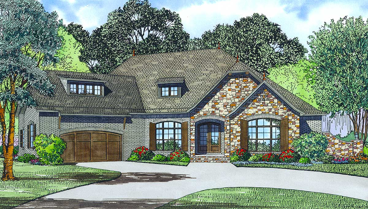 European styling with an angled garage 60618nd for Angled entry house plans