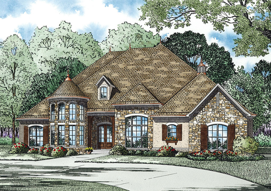 Home plan with castle like turret 60630nd 1st floor for House turret designs