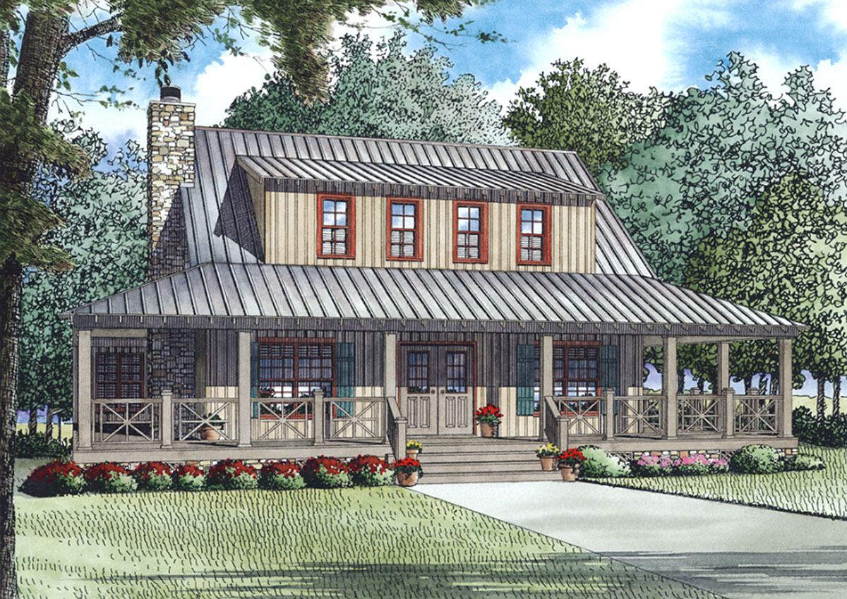 Ample storage and fantastic wrap around porch 60632nd for Country style farmhouse plans
