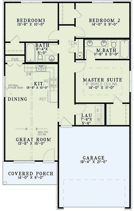 Starter Home Plan With Vaulted Ceilings 60634nd 1st