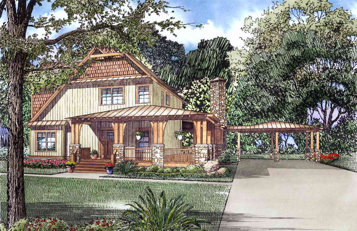 Rustic Craftsman With Wrap Around Porch 60642nd