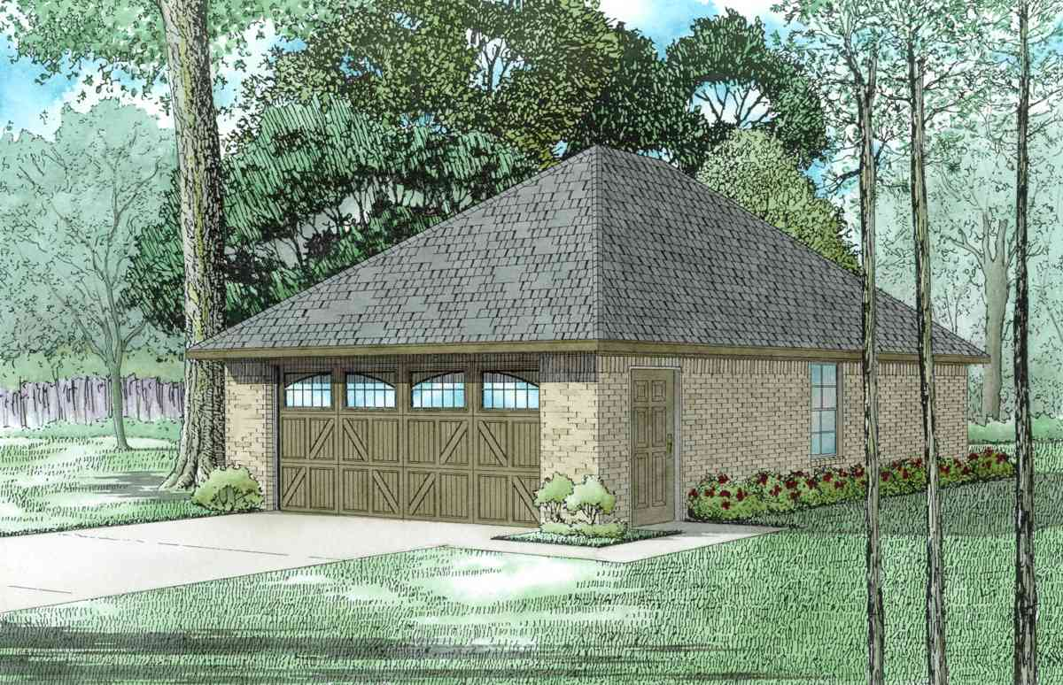 2 car garage with hip roof 60655nd cad available pdf for Hip roof garage plans