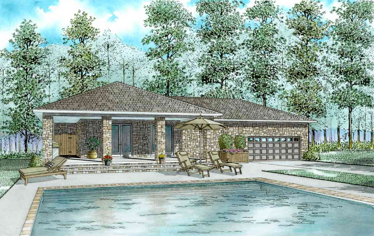 house plans with pool house guest house guest house plan with l shaped porch 60660nd 27735