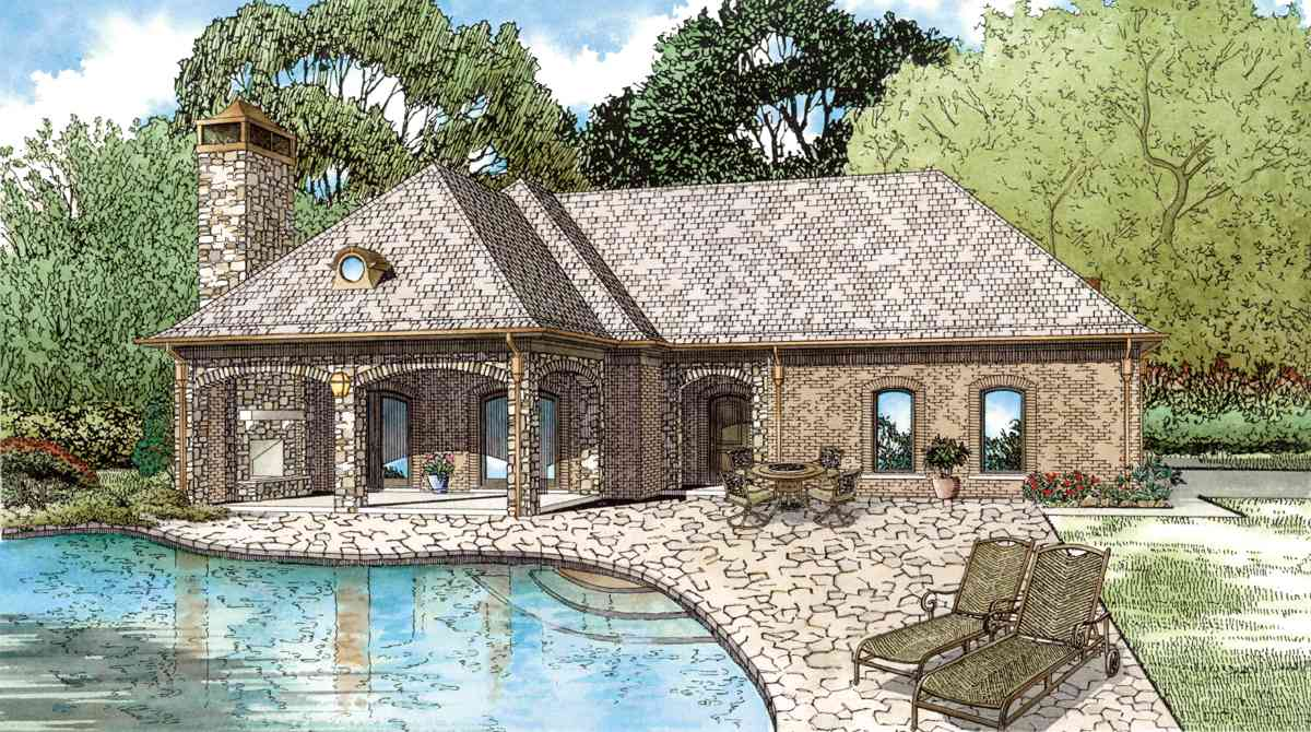 Guest Home Plan With Outdoor Living Room