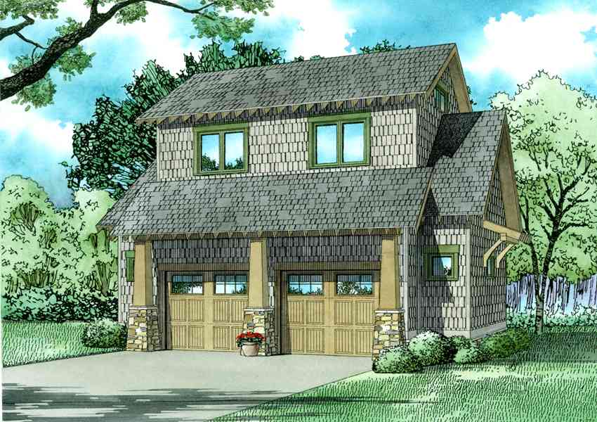 Rustic carriage house plan with loft 60662nd for House plans with loft over garage