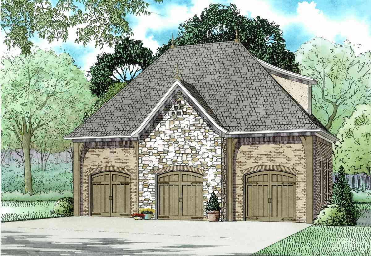 3 car garage with bonus room 60664nd architectural for Two car garage plans with bonus room