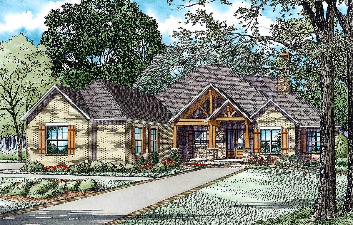 Rustic mountain home plan 60671nd architectural for Rustic house designs