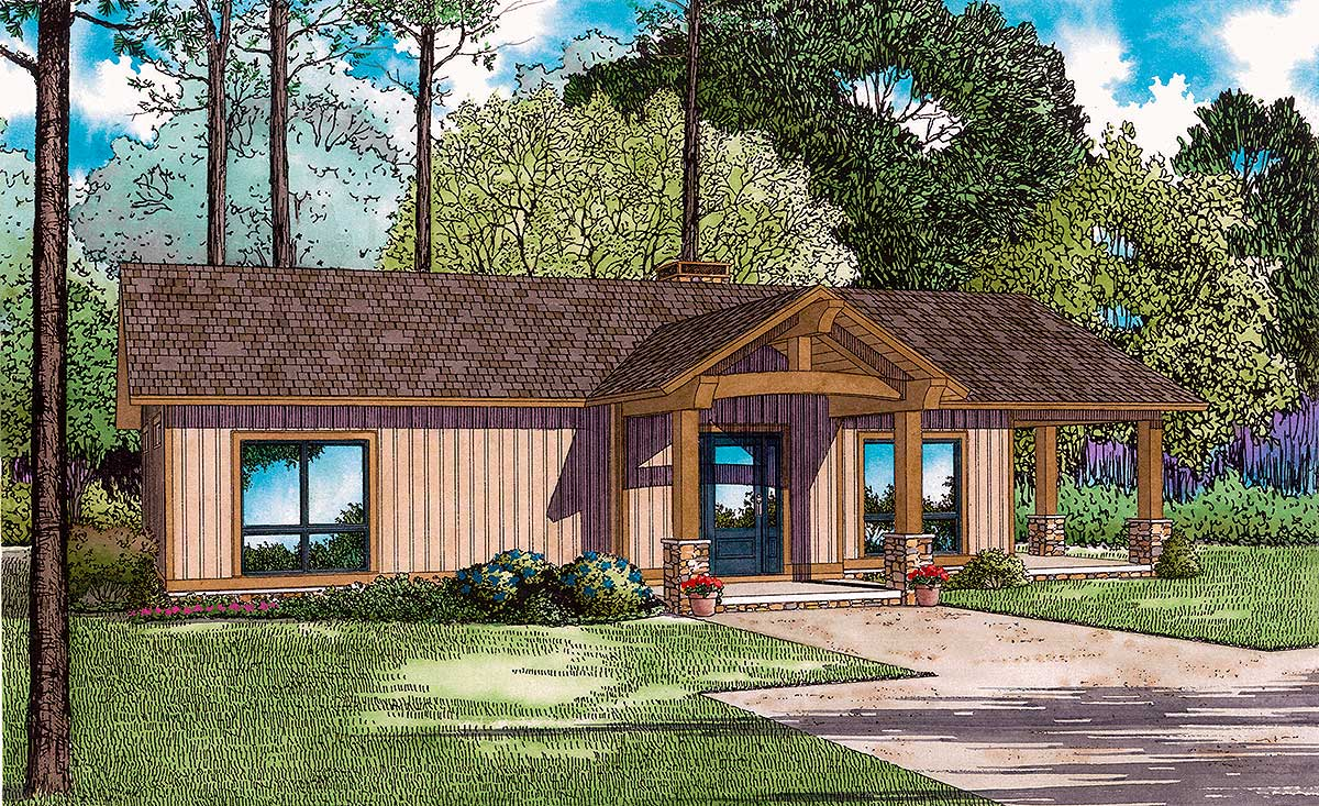 Rustic ranch with large grilling porch 60676nd for Large ranch house plans