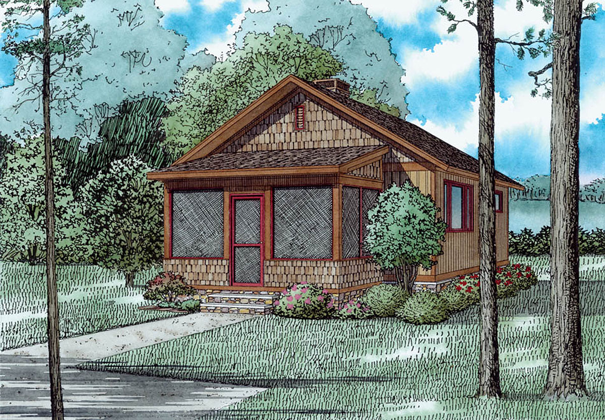 2 bed rustic getaway home plan 60678nd architectural