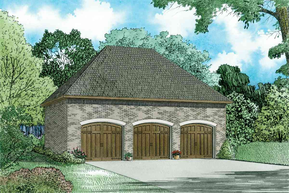 3 car detached french country garage 60683nd cad for French country garage plans